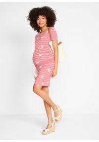 Sukienka ciążowa z bawełny organicznej bonprix dymny jasnoróżowy - biały w paski. Kolekcja: moda ciążowa. Kolor: różowy. Materiał: bawełna. Wzór: paski. Typ sukienki: sportowe. Styl: sportowy