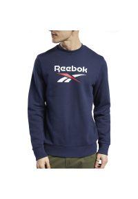 Niebieska bluza Reebok z długim rękawem, długa, klasyczna
