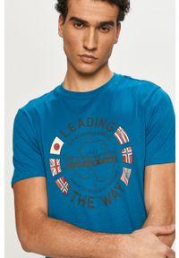 Turkusowy t-shirt Napapijri z nadrukiem, na co dzień, casualowy