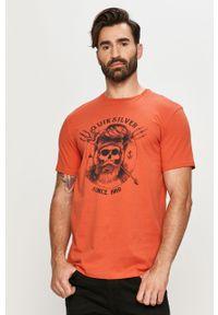 Pomarańczowy t-shirt Quiksilver casualowy, na co dzień, z nadrukiem