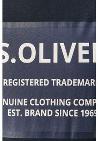 Niebieski t-shirt s.Oliver z nadrukiem, na co dzień, casualowy