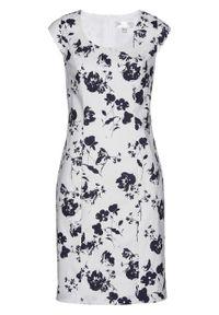 Biała sukienka bonprix ołówkowa, z nadrukiem