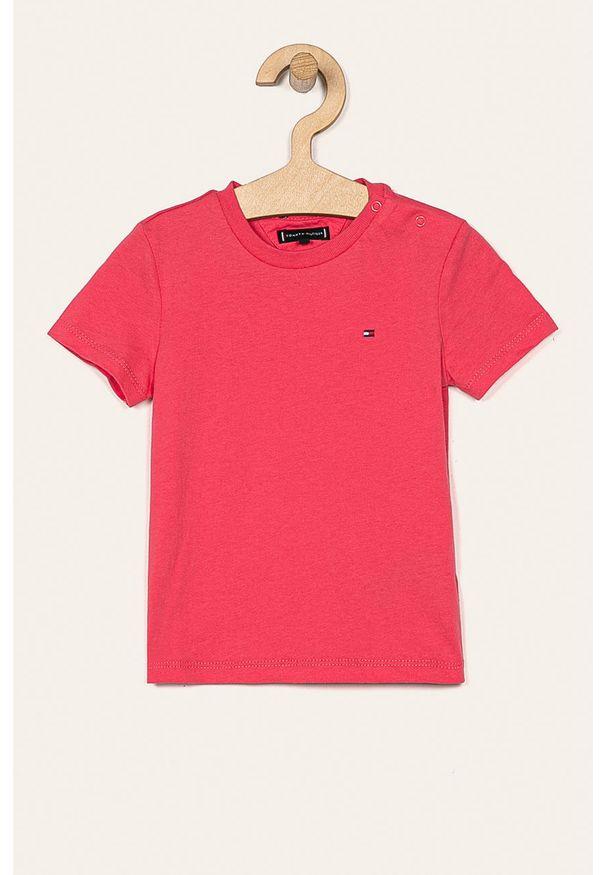 Różowy t-shirt TOMMY HILFIGER casualowy, na co dzień, z okrągłym kołnierzem