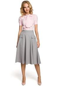 MOE - Elegancka rozkloszowana spódnica midi z kieszeniami. Materiał: materiał, elastan. Styl: elegancki