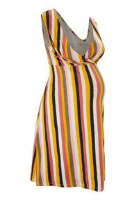 Sukienka ciążowa i do karmienia LENZING™ ECOVERO™ bonprix w kolorowe paski. Kolekcja: moda ciążowa. Kolor: czarny. Materiał: wiskoza. Wzór: paski, kolorowy. Długość: mini