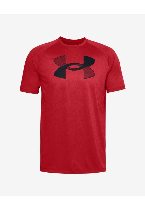 Czerwony t-shirt Under Armour z nadrukiem, z okrągłym kołnierzem