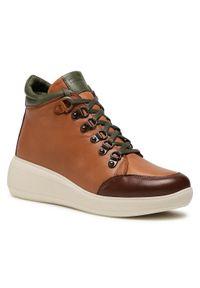Brązowe buty sportowe Manitu na koturnie, z cholewką, na średnim obcasie