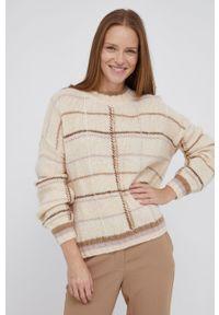 Mos Mosh - Sweter wełniany. Kolor: beżowy. Materiał: wełna. Długość rękawa: długi rękaw. Długość: długie