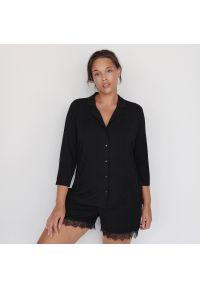 Reserved - Wiskozowa piżama z szortami - Czarny. Kolor: czarny. Materiał: wiskoza