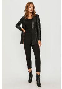 Czarne spodnie materiałowe G-Star RAW casualowe, z aplikacjami, z podwyższonym stanem, na co dzień