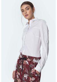 Nife - Taliowana Koszula z Pagonem - Biała. Kolor: biały. Materiał: poliester, bawełna