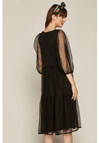 Czarna sukienka medicine z dekoltem karo, na co dzień, mini, casualowa