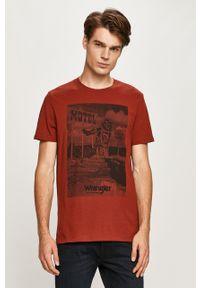 Brązowy t-shirt Wrangler na co dzień, z okrągłym kołnierzem