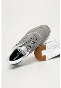 Szare buty sportowe New Balance z cholewką, na sznurówki, na obcasie