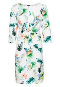 Sukienka z dżerseju, rękawy 3/4 bonprix biało-turkusowo-zielony wzorzysty. Kolor: biały. Materiał: jersey. Wzór: nadruk, kolorowy. Sezon: lato