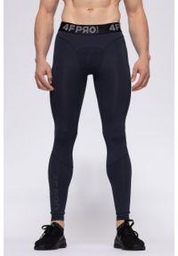 Niebieskie legginsy sportowe 4f na fitness i siłownię, z nadrukiem