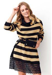 Długi sweter Makadamia w koronkowe wzory