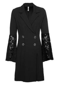 Sukienka z rękawami z koronką bonprix czarny. Kolor: czarny. Materiał: koronka. Wzór: koronka