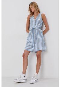 Vero Moda - Sukienka. Okazja: na co dzień. Kolor: niebieski. Materiał: tkanina, jedwab, materiał, lyocell. Długość rękawa: na ramiączkach. Typ sukienki: proste. Styl: casual