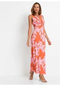 Letnia długa sukienka bonprix pomarańczowo-różowy w roślinny wzór. Kolor: pomarańczowy. Wzór: nadruk. Sezon: lato. Długość: maxi #3