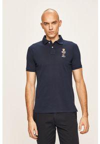 Niebieska koszulka polo Polo Ralph Lauren na co dzień, z aplikacjami