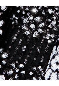 SELF PORTRAIT - Sukienka midi z cekinami. Okazja: na wesele, na ślub cywilny, na imprezę. Kolor: czarny. Wzór: haft, kwiaty, aplikacja. Styl: elegancki. Długość: midi
