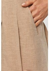 Spodnie materiałowe z podwyższonym stanem, gładkie