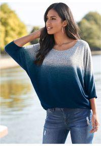 Shirt oversize w cieniowanym kolorze bonprix szaro-niebieski melanż. Kolor: szary. Wzór: melanż