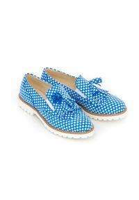 Zapato - wsuwane półbuty w niebieską pepitkę - skóra naturalna - model 247 - kolor niebieskie kwadraty. Okazja: do pracy, na imprezę, na spacer. Nosek buta: czworokąt. Zapięcie: bez zapięcia. Kolor: niebieski. Szerokość cholewki: normalna. Wzór: kwiaty, kratka, kolorowy. Materiał: skóra. Obcas: na obcasie. Styl: klasyczny, elegancki. Wysokość obcasa: niski