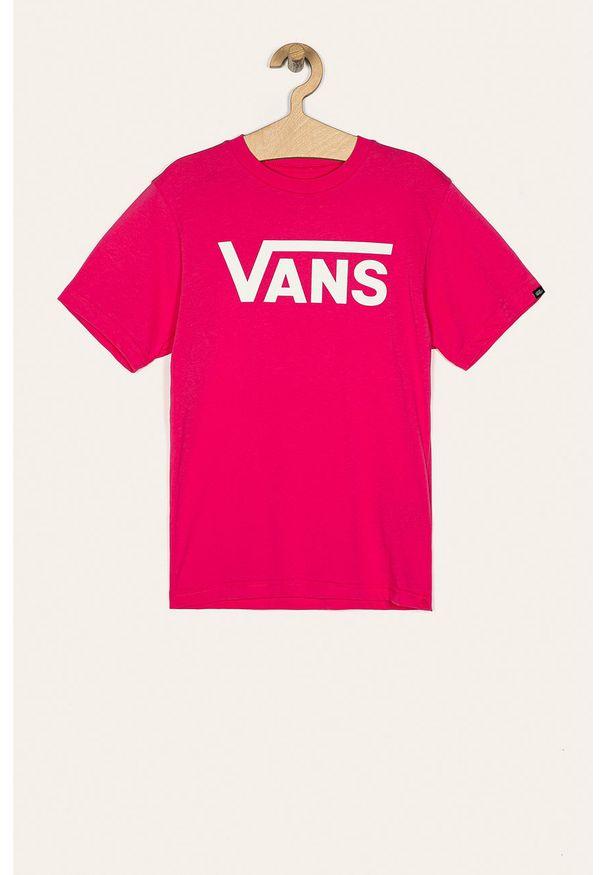 Różowy t-shirt Vans casualowy, z okrągłym kołnierzem, z nadrukiem, na co dzień