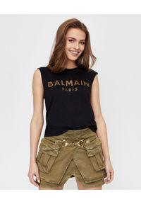 Czarny t-shirt Balmain z aplikacjami, bez rękawów
