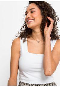 Biały top bonprix z dekoltem karo, krótki, na ramiączkach