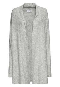 Sweter bez zapięcia z szalowym kołnierzem bonprix jasnoszary melanż. Kolor: szary. Długość: długie. Wzór: melanż