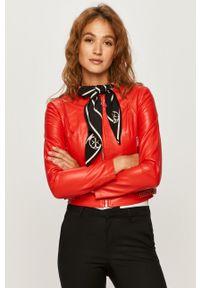 Czerwona kurtka Guess Jeans na co dzień, bez kaptura, casualowa