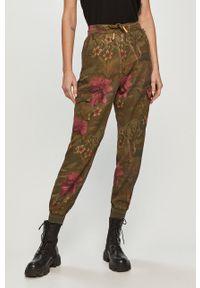 Oliwkowe spodnie materiałowe Desigual casualowe, na co dzień