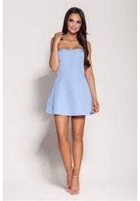 Dursi - Niebieska Mini Sukienka z Odkrytymi Ramionami. Kolor: niebieski. Materiał: elastan, nylon, bawełna. Typ sukienki: z odkrytymi ramionami. Długość: mini