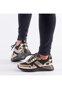 Vinceza - Sneakersy półbuty damskie VINCEZA 10651 BK/GL. Kolor: złoty. Materiał: tkanina, skóra. Obcas: na obcasie. Wysokość obcasa: średni
