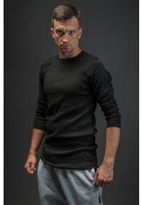 Hultaj Polski - Bluzka męska czarna. Kolor: czarny. Materiał: bawełna, dzianina, tkanina, elastan. Długość rękawa: długi rękaw. Długość: długie