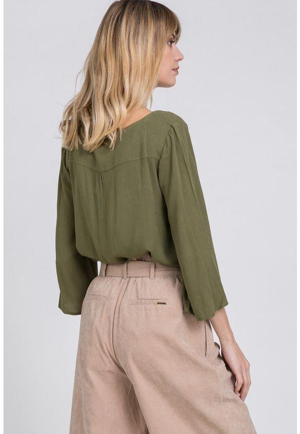 Zielona bluzka Monnari na co dzień, z haftami, casualowa