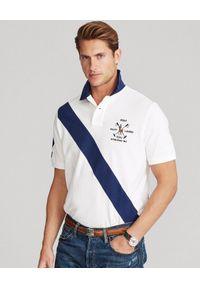 Ralph Lauren - RALPH LAUREN - Koszulka polo Banner-Stripe Mesh. Typ kołnierza: polo. Kolor: biały. Materiał: mesh. Długość: długie. Wzór: haft, aplikacja