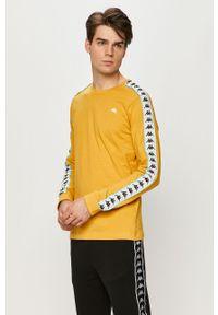 Żółta koszulka z długim rękawem Kappa z aplikacjami, na co dzień, casualowa