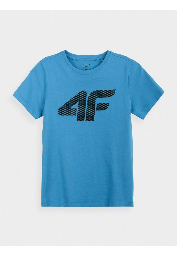 4f - T-shirt chłopięcy (122-164). Kolor: niebieski. Materiał: bawełna, materiał