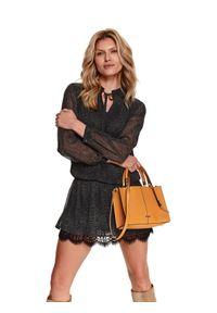 Czarna sukienka TOP SECRET koszulowa, w koronkowe wzory