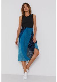 DKNY - Dkny - Sukienka. Kolor: turkusowy. Materiał: tkanina, dzianina. Typ sukienki: rozkloszowane