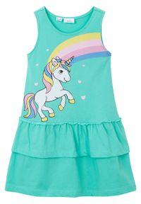 Zielona sukienka bonprix na lato, z nadrukiem
