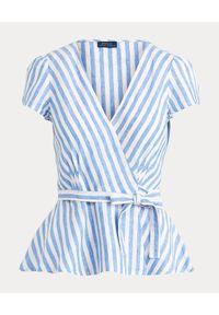 Ralph Lauren - RALPH LAUREN - Lniana bluzka w paski. Okazja: na co dzień. Typ kołnierza: polo. Kolor: biały. Materiał: len. Wzór: paski. Styl: casual