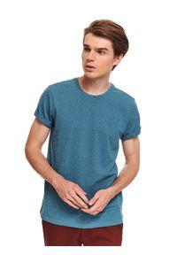 TOP SECRET - T-shirt z dzianiny recyklingowanej. Okazja: na co dzień. Kolor: niebieski. Materiał: dzianina. Długość rękawa: krótki rękaw. Długość: krótkie. Sezon: zima. Styl: casual