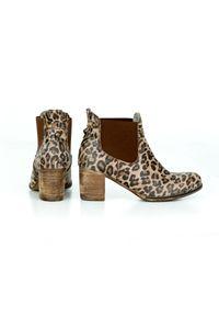 Brązowe botki Zapato na zimę, z motywem zwierzęcym, na co dzień