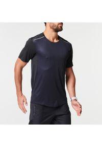 KIPRUN - Koszulka Do Biegania Kiprun Light Męska. Kolor: wielokolorowy, szary, czarny. Materiał: poliamid, materiał, poliester