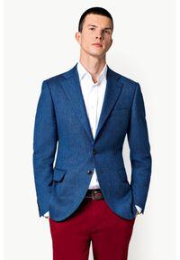 Lancerto - Marynarka Niebieska Keda. Kolor: niebieski. Materiał: wełna, tkanina, syntetyk, skóra, poliester. Styl: klasyczny